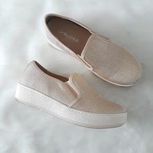 J/SLIDES Woven Gold Platform Slip-On Sneaker